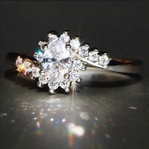 925 Sterling Silver Sapphire Gemstones Ring Size 7